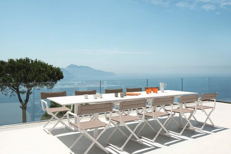 Stół w ogrodzie biały prostokątny Flat