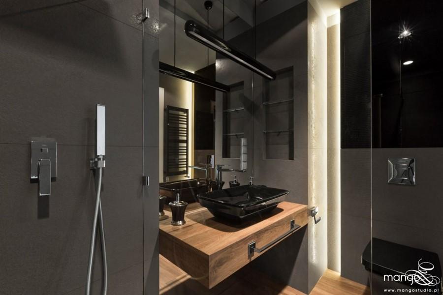 Aranżaja łazienki z przeszklonym natryskiem Mango Studio