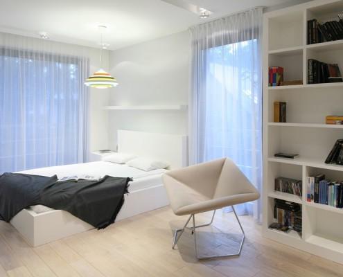 Biała sypialnia w biblioteką Nasciturus projektowanie wnętrz