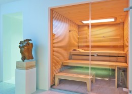 Nowoczesna sauna w kwadratowym układzie Klafs nowoczesne sauny