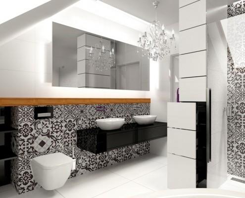 Połysk w łazience na poddaszu DK Pracownia
