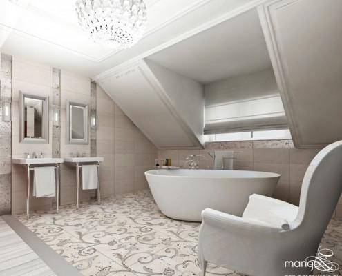 Projekt łazienki na poddaszu w stylu glamour Mango Studio