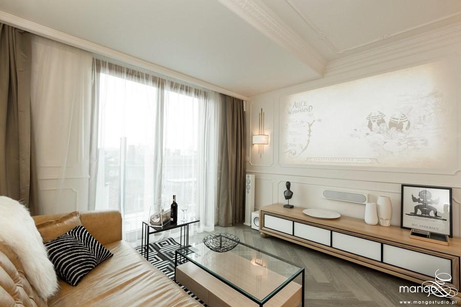 Styl modern classic salonie z jadalnią - eklektyczne wnętrza