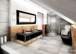 Stylowa łazienka na niskim poddaszu