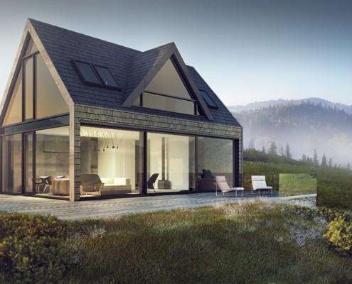 Panoramiczne okna w domu nad jeziorem Exterio