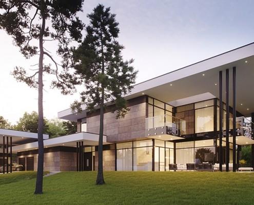 Przeszklona rezydencja w nowoczesnym stylu Exterio