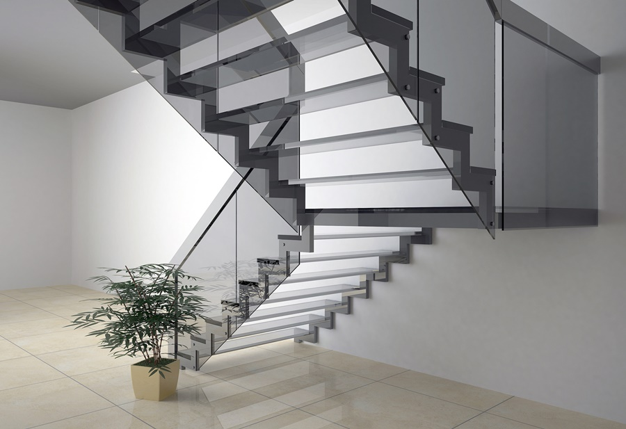 Balustrada szklana ze schodami szklanymi