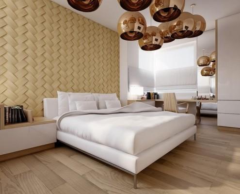 Ściana w sypialni w drewnie