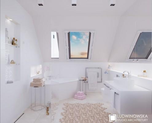 Narożna wanna w łazience na poddaszu Ludwinowska Studio