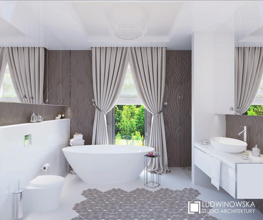 Nastrojowa łazienka w bieli i szarości Ludwinowska