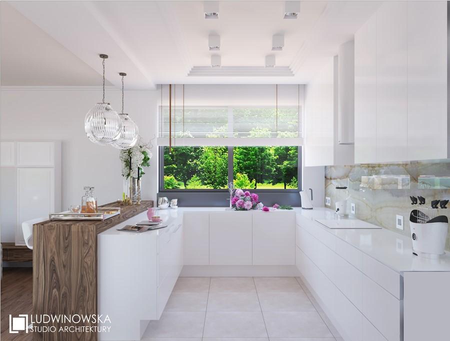 Otwarta kuchnia w nieskazitelnej bieli  Architektura, wnętrza, technologia,