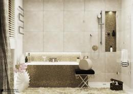 Połyskliwa mozaika w łazience - oryginalna łazienka