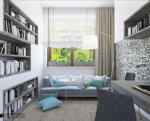 Projekt domowego gabinetu w nowoczesnym stylu Ludwinowska