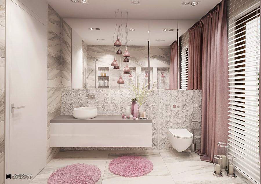 Pudrowy róż w kobiecej łazience Ludwinowska - oryginalna łazienka