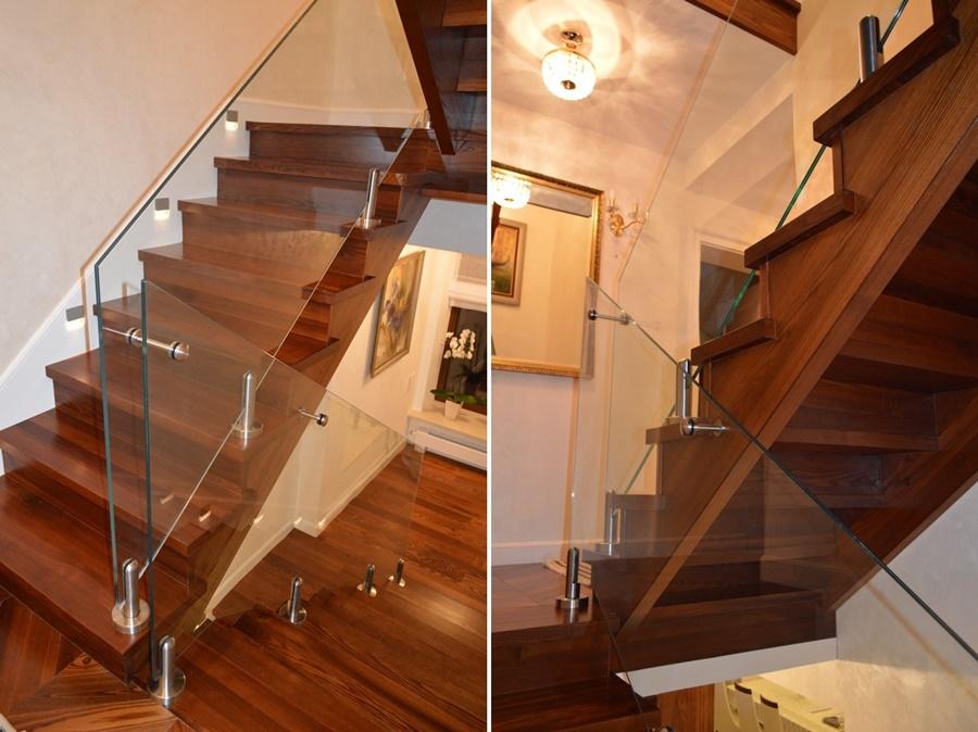 balustrada szklana z drewnianymi schodami