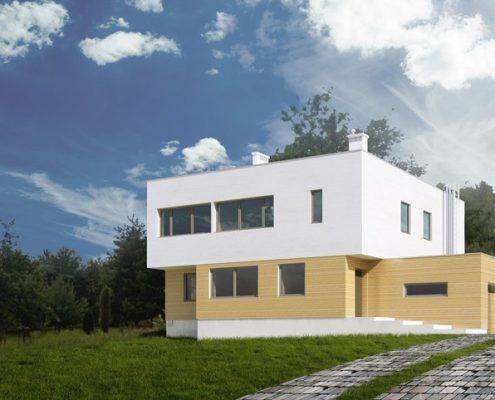 Minimalistyczny dom z drewnianą elewacją A8 architektura