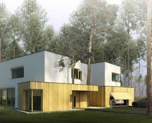 Nowoczesny projekt domu wkomponowanego w las A8 architektura - przestronne wnętrza