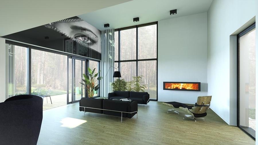 Projekt domowej strefy dziennej z antresolą - przestronne wnętrza