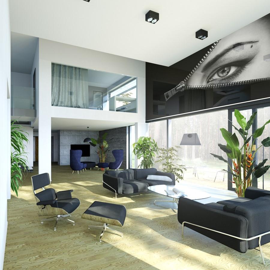 Projekt domowej strefy dziennej z antresolą A8 architektura