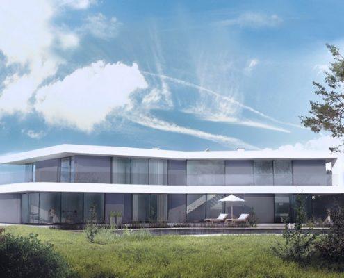 Projekt dwupoziomowego domu z licznymi tarasami A8 architektura