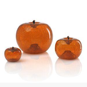 Szklane jabłko amber Bull and Stein Dekoracja rzeźba