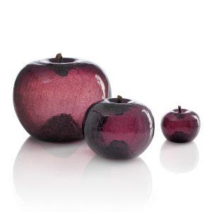 Szklane jabłko amethyst Bull and Stein Dekoracja rzeźba