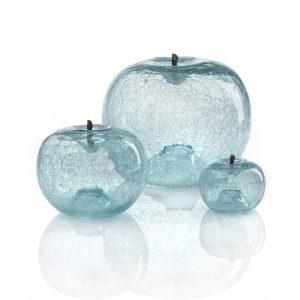 Szklane jabłko aquamarin Bull and Stein Dekoracja rzeźba