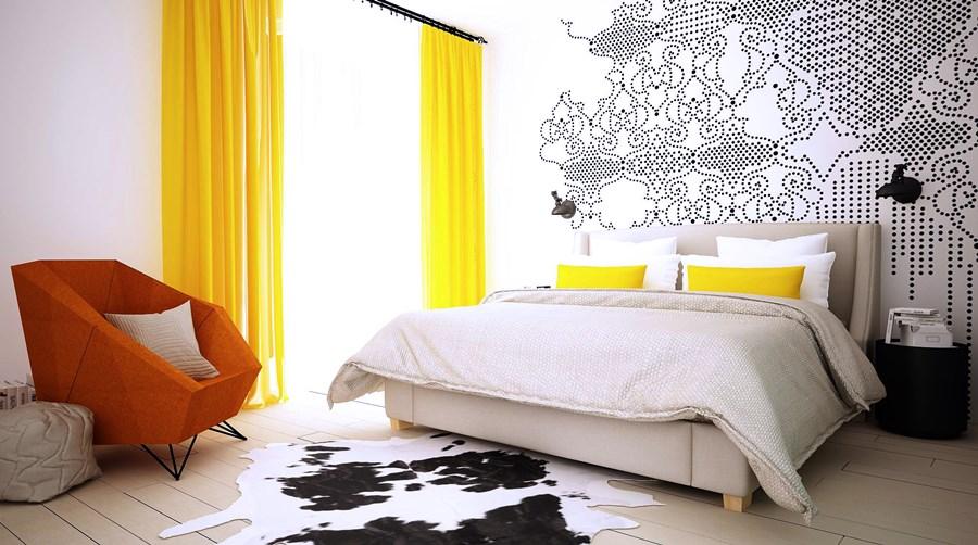 Żółte dodatki do sypialni urządzanie mieszkania