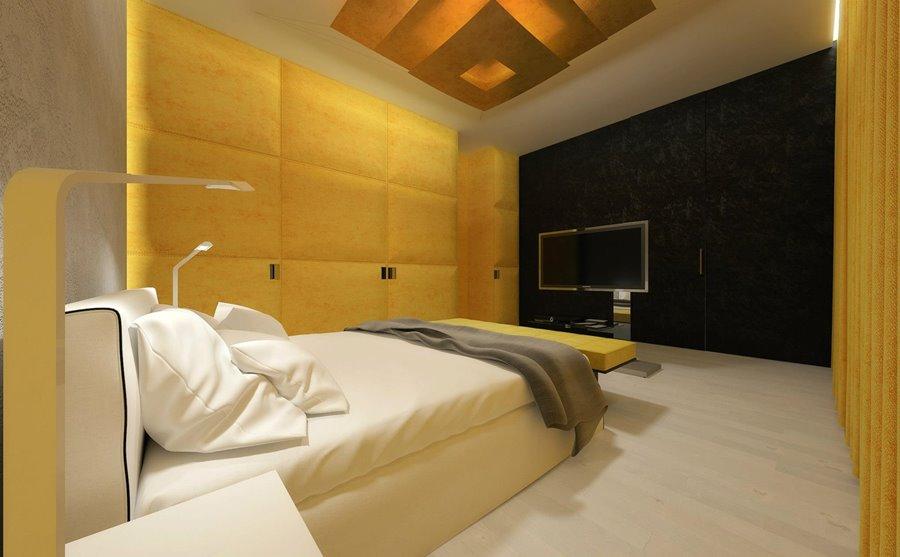 Żółte panele tapicerowane sypialnia urządzanie mieszkania