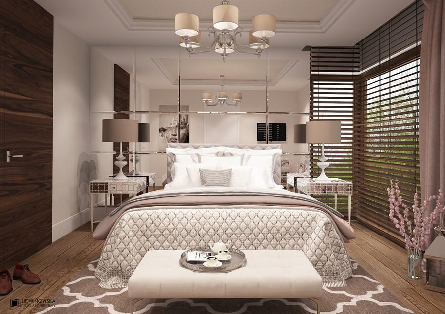 Beżowa sypialnia art deco urządzanie mieszkania