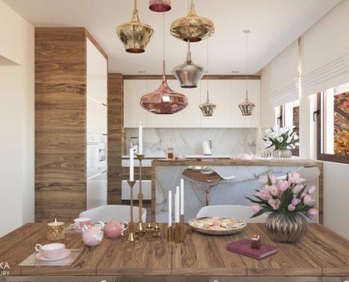 Drewno w nowoczesnej kuchni z jadalnią Agnieszka Ludwinowska