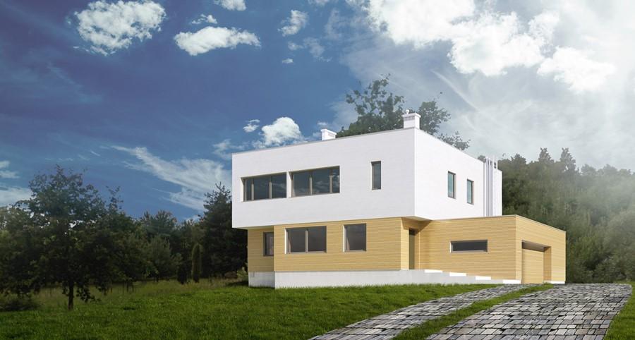 Dwupiętrowy dom z drewnianą elewacją - Widok od strony zalewu Topornia