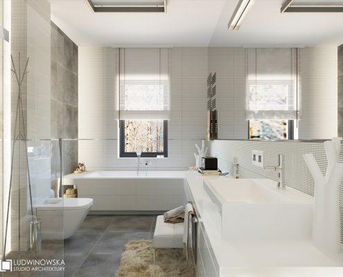 Mały pokój kąpielowy w nowoczesnym wydaniu Agnieszka Ludwinowska