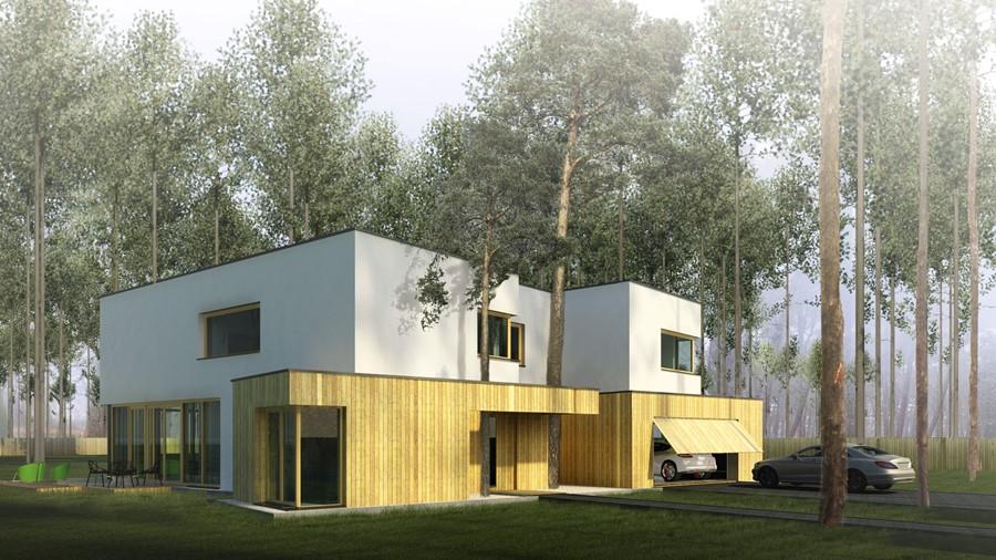 Nowoczesny projekt domu wkomponowanego w las A8 Architektura