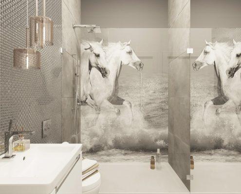 Popielata łazienka z prysznicem Agnieszka Ludwinowska