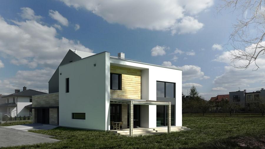 Projekt domu z drewnianą elewacją styl nowoczesny