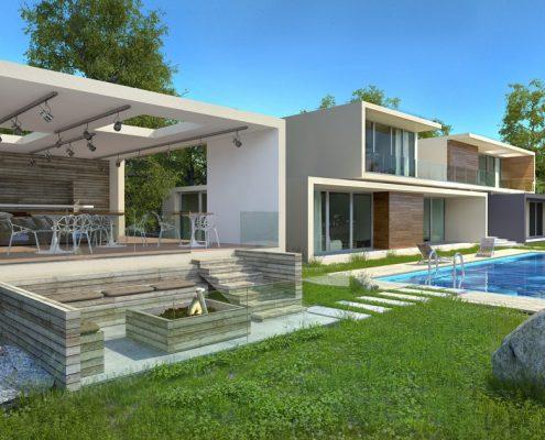Projekt nowoczesnego domu z altaną i basenem Macan Design