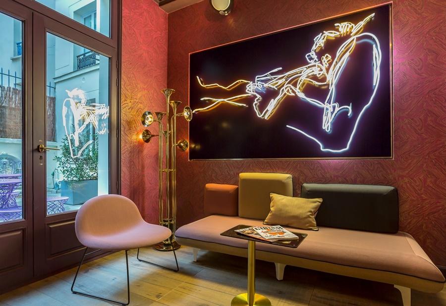Stylowy hotel Idol Paryż Kącik wypoczynkowy