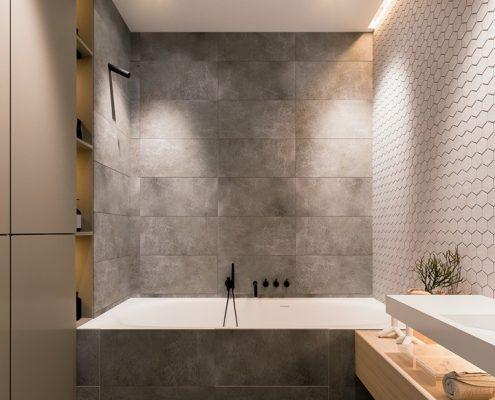 Szarości w nowoczesnej łazience z wanną Hi-light Architectures