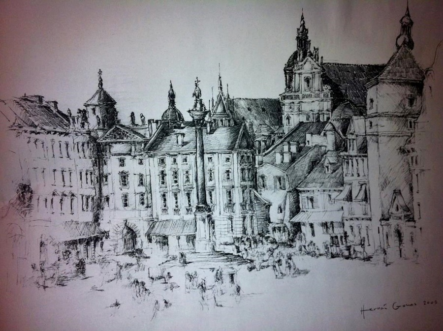 Szkice i rysunki architektów i projektantów wnętrz