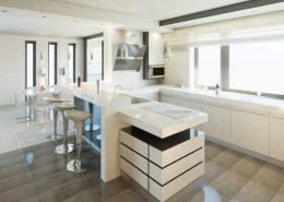 Biel w kuchni otwartej na jadalnię A8 ARchitektura - jak urządzić kuchnię