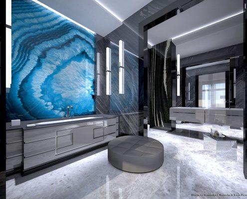 Ciemne kolory w łazience art deco Dominika Rostocka
