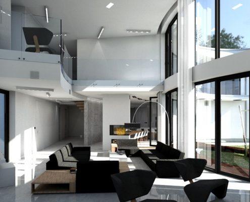 Czerń i biel w salonie z antresolą A8 Architektura
