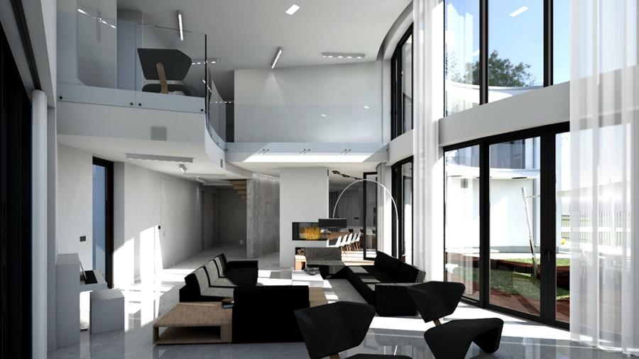 Czerń i biel w salonie z antresolą A8 Architektura - przestronne wnętrza