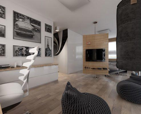 Domowa pracownia połączona z sypialnią Concept