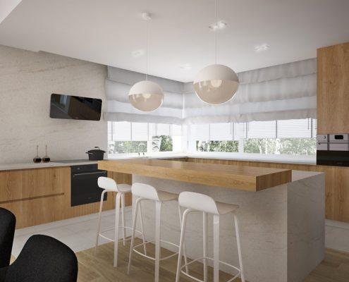 Duża wyspa w nowoczesnej kuchni Nasciturus Design