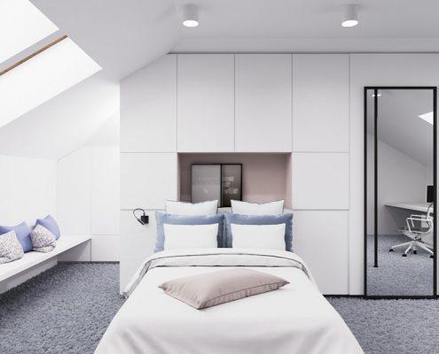 Duży pokój młodzieżowy na poddaszu Nasciturus Design