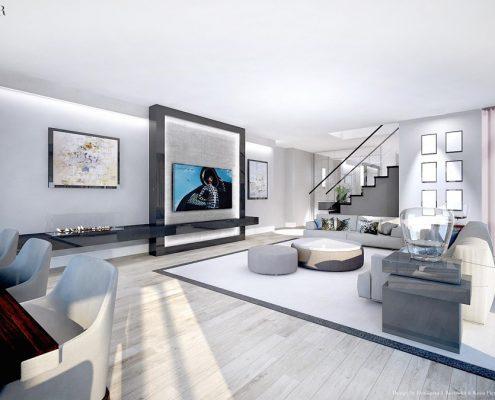 Duży salon w bieli - styl nowoczesny Dominika Rostocka