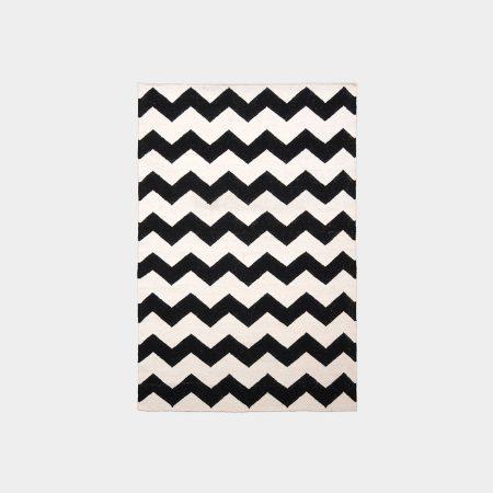Biało-czarny dywan Chevron Black White II