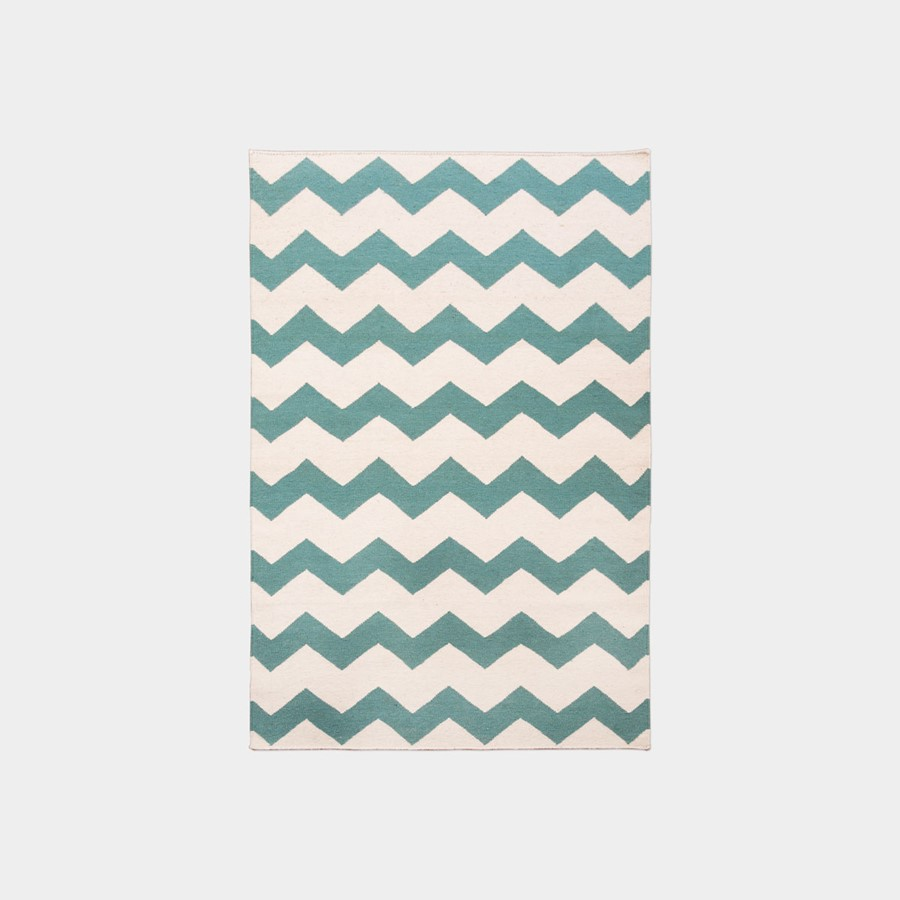 Biało-miętowy dywan Chevron Mint Whte Oaks
